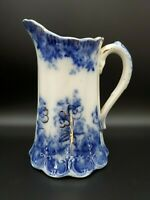 "VINTAGE ESTATE 7"" FLOW BLUE HAND PAINTED PITCHER W/ PANSY FLOWERS & GOLD ACCENTS"