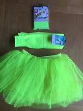 Smiffys - Tutu, Lace Gloves & Leg warmers - Neon Yellow