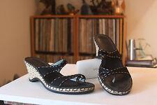 "Indigo Clarks 82591 Black Leather 2 3/4 "" Wedge Toe Loop Slides Sandals Size 9 M"