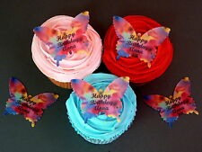 15 PERSONALISED BIRTHDAY BUTTERFLIES EDIBLE CUP CAKE RICE WAFER PAPER TOPPERS