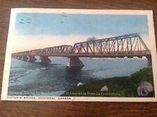 VICTORIA BRIDGE. ACROSS THE ST. LAWRENCE RIVER MONTREAl CANADA LINEN POSTCARD