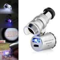 Gioielli Lente di Ingrandimento 60x Palmare Vetro Luminoso Microscopio
