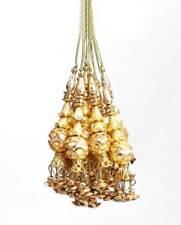 Indian 10 PC Set Pearl Golden Artificial Tassel Handmade Latkan Craft Accessory