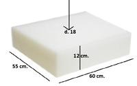 Spugna Gommapiuma 60x55x12 densità 18 poliuretano Espanso tappezzeria imbottiti