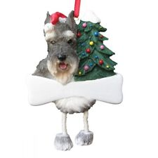 E&S Pets Dangling Legs Christmas Ornament NEW Dog SCHNAUZER CROPPED Pup Holiday