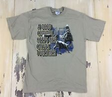 A GOOD COWGIRL KEEPS HER CALVES TOGETHER - NWOT Tan Cotton T-shirt, Adult MEDIUM