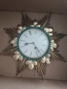 Mid century junghans sunburst clock, tourquoise accents