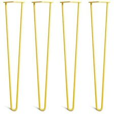 4x Premium Yellow Hairpin Table Legs + Free Screw & Floor Protectors