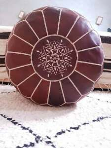 Moroccan Leather Pouf -  Hassock & Ottoman Footstool, Round Handcrafted Pouffe