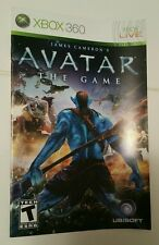 Xbox 360 Avatar the Game Instruction Booklet Insert Only Microsoft