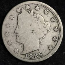 1886 CUD REVERSE Liberty V Nickel CHOICE VG+ FREE SHIPPING E377 ACNM