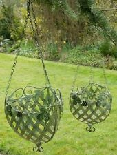 Set Of 2 Metal Hanging Baskets Ornate French Style Vintage Green Garden Home
