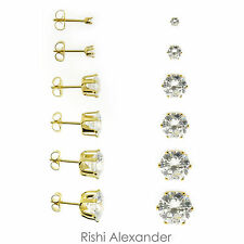 18k Gold Filled Round Cubic Zirconia Clear CZ Stud Earrings Butterfly Posts