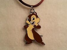 """Brown Enamel """"Chip & Dale's"""" Chip Pendant Satin Cord Necklace w/Lobster Clasp"""