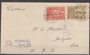 DB7893/ BRITISH NEW GUINEA – SG # 126a + 130 ON REGISTERED COVER TO HOLYOKE