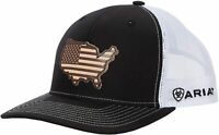Ariat Mens Richardson 112 USA Leather Patch Snapback Cap Hat (Black/White)