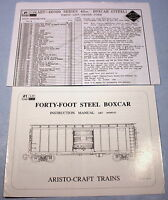 Original Instruction Manual & Parts List for Aristo G Scale 40' Steel Boxcar