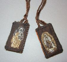 SCAPULAR/ESCAPULARIA/VIRGIN OF GUADALUPE/SACRED HEART OF JESUS/BROWN /4373