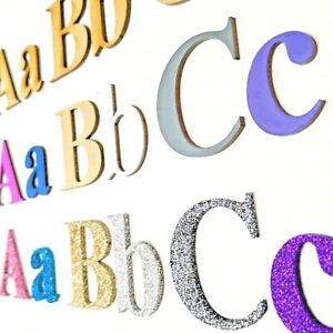Wooden Letters MDF  Alphabet Letters, Numbers  Painted Glitter 20 Fonts COLOUR