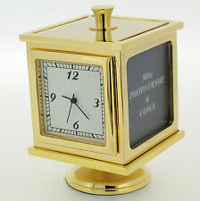 Novelty Miniature Photo Cube Clock in Gold Tone