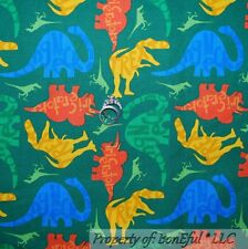 BonEful Fabric FQ Cotton Quilt Green Red Blue Baby Boy Retro Dino Dinosaur T-rex