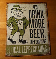 DRINK MORE BEER Leprechauns St. Patrick's Day Irish Bar Pub Home Decor Sign NEW