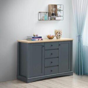 Carden Sideboard 2 Doors 4 Drawers Storage Cabinet Cupboard Dark Grey and Oak