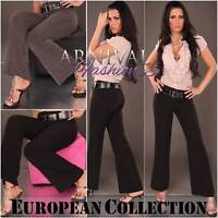 PANTS TROUSERS stretch hotpants WOMEN FORMAL WEAR LADIES OFFICE WORKWEAR + BELT