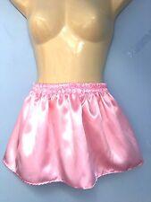 10 inch L pink satin fetish skirt tutu adult baby maid sissy cd tv fancy 28-40