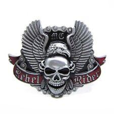 Original Metal Rebel Rider Skull Belt Buckle Flying Bald Eagle Wings Accessories
