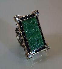 "Heidi Daus ""Chinois Splendor"" Green Simulated Carved Jade Ring - Size 8"