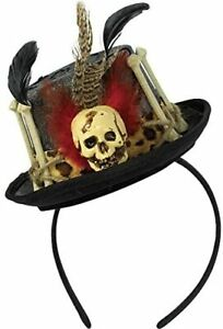 Voodoo Witch Doctor Skull Top Hat Headband Costume Halloween Adults Themed Party