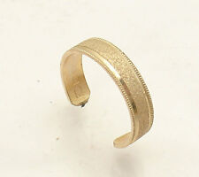 Adjustable Sandblast Milgrain Band Style Toe Ring Solid Real 10K Yellow Gold