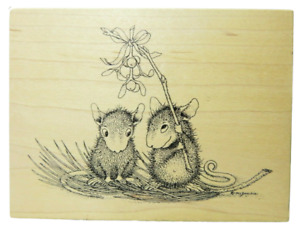House Mouse Stampa Rosa Mouse Under Mistletoe  #57 1997 Rubber Stamp Xmas Love
