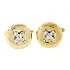 14k Two Tone Gold 0.10ctw Round Brilliant Diamond Puffed Round Button Cuff Links