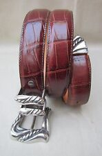 "Vintage ""ONYX"" Belt Reddish Brown Stamped Leather/Silver Hardware size marked 30"