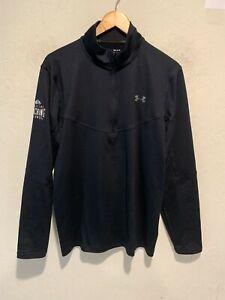 Under Armour Men's Quarter Zip Athletic Jacket Size MEDIUM Black Cold Gear VGUC