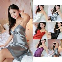 Ladies Sexy Lace Satin Lingerie Sleepwear Night Gown Babydoll Dress Nightie Robe