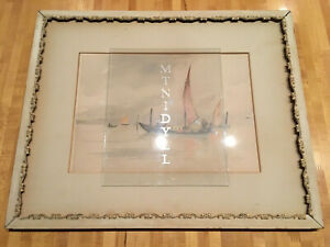 Antique Watercolor Signed Louis K. Harlow MA New England Coastal Fishing Boats