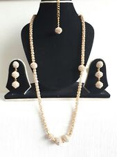 UK NEW INDIAN BOLLYWOOD COSTUME JEWELLERY NECKLACE SET GOLD PLATED SILVER STONE