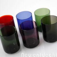 6 Ingrid Bunt Glas Schnaps Gläser shot glasses 60er 50er rockabilly vintage D854