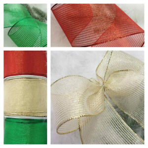 1m x 63mm Wired Christmas Ribbon Sheer Sparkly Emerald Green Red Gold   tree bow