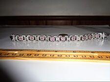 "DBJ 925 Silver Tennis Bracelet Pink Gemstones Size 8 .5"""