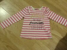 New Baby Girls Size 3-4 Years Pink & White Striped Glitter Is My Fav Colour Top