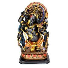 "GANESHA STATUE 12"" Dancing Resin Ganesh Hindu Elephant God QUALITY Black Gold"
