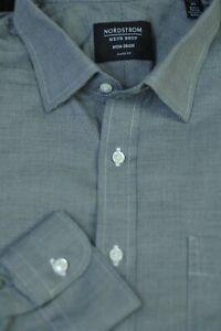 Nordstrom Men's Gray End on End Cotton Non Iron Dress Shirt 16.5 x 37