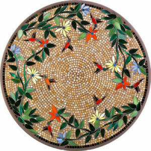 Black Marble Coffee Round Table Top Marquetry Arts Inlay Floral Home Decor H1995