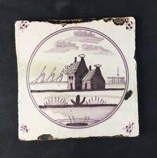 """🔷 18th Century Antique Delft 5 1/8"""" Tile Dutch Manganese w/ Provenance"""