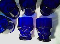 Vintage, 6 blue glasses, Honeycomb Georgian tumblers,Viking Glass/Anchor Hocking