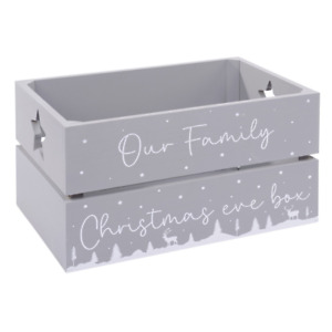 Large Family Christmas Eve Box Grey Crate Reusable Fill with Treats Langs